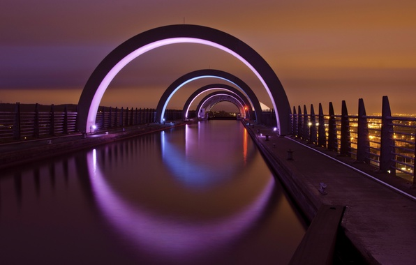 Картинка ночь, city, город, lights, огни, Шотландия, Великобритания, night, Scotland, Great Britain, United Kingdom, Falkirk, Фалкирк