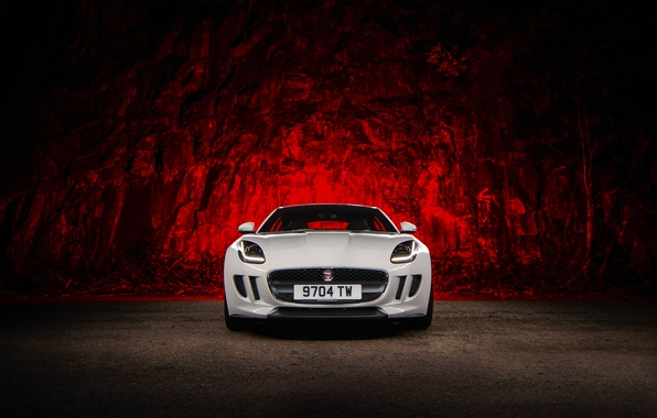 Картинка Jaguar, Red, Car, Front, White, Sport, F-Type, Ligth