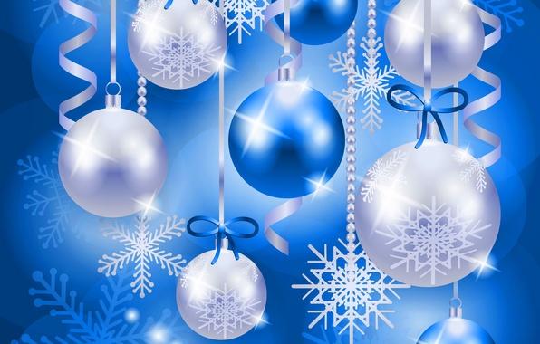 Картинка шарики, украшения, снежинки, игрушки, новый год, рождество, вектор, серпантин