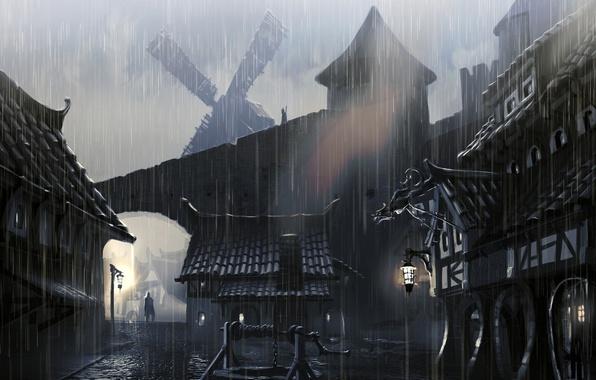 Фото обои town houses, skyrim, artwork