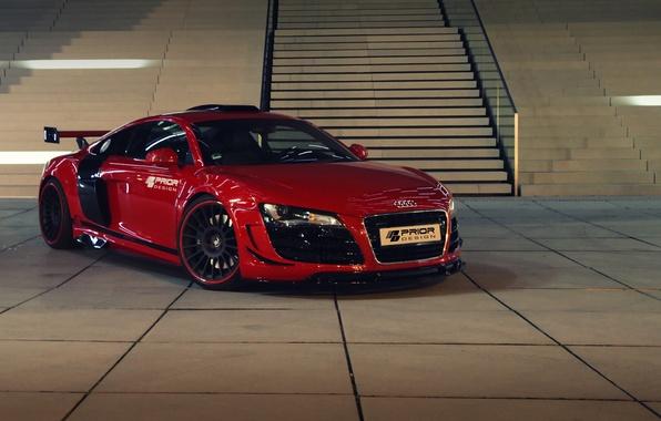 Картинка красный, Audi, лестница, ступени, автомобиль, передок, Prior-Design, GT650