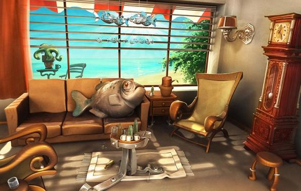 Картинка диван, отдых, рыба, кресло