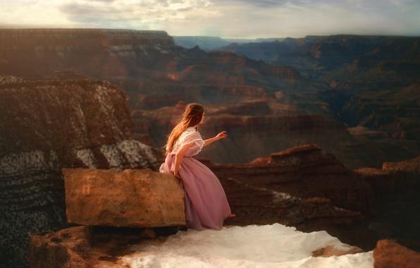Картинка девушка, скалы, камень, платье, TJ Drysdale