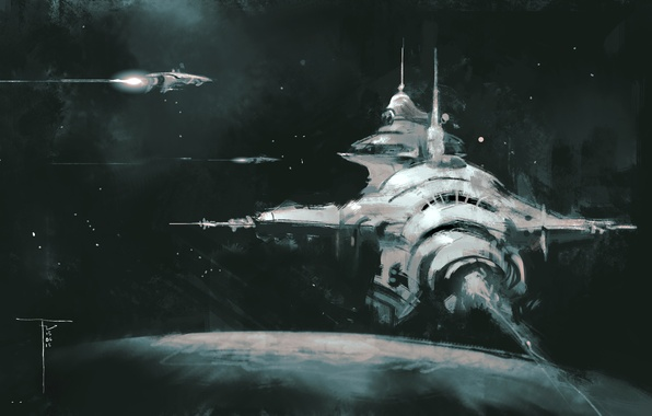 Картинка космос, фон, планета, космические корабли