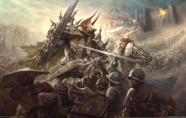 Картинка война, меч, доспехи, бой, фэнтези