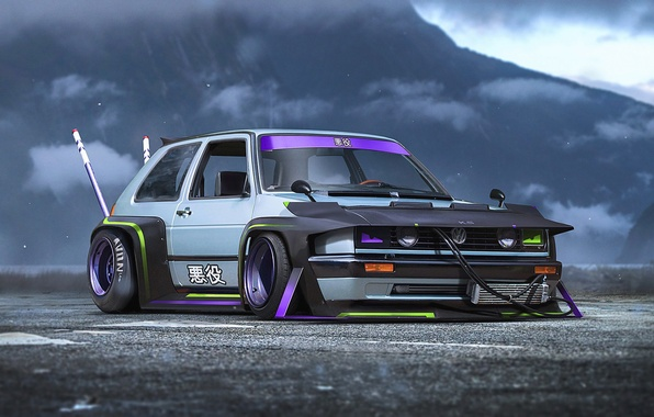 Картинка Concept, Volkswagen, Car, Golf, Future, by Khyzyl Saleem, Bosozoku
