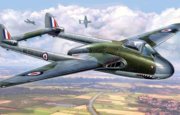 Картинка aircraft, war, airplane, vampire, aviation, dogfight, hawker