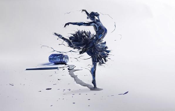 Картинка девушка, перо, арт, балерина, чернила, пузырек, Leonardo Dell'Agli