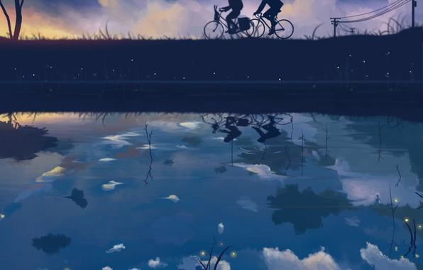 Картинка небо, девушка, звезды, облака, велосипед, отражение, светлячки, провода, аниме, арт, парень, dias mardianto, donsaid