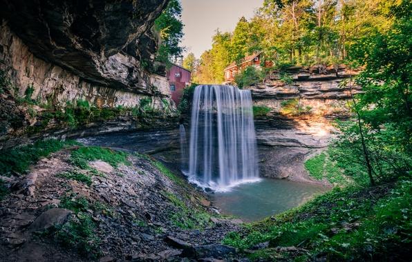 Картинка осень, лес, деревья, скала, камни, водопад, Канада, домики, солнечно, Ontario