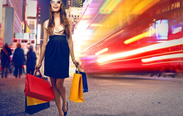 Картинка девушка, город, улица, покупки