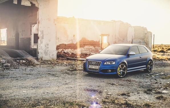 Картинка солнце, лучи, Audi, Ауди, Тюнинг, Синяя