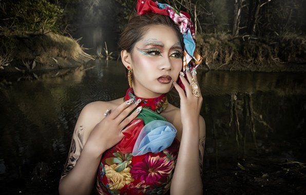 Картинка вода, стиль, модель, руки, макияж, азиатка, маникюр