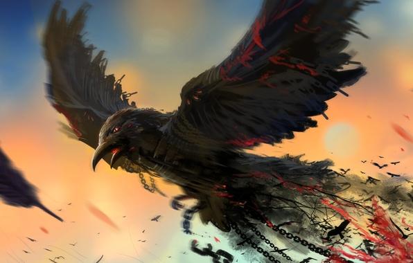 Картинка птица, арт, цепи, ворон