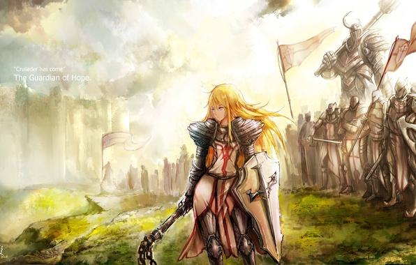 Картинка взгляд, девушка, оружие, фантастика, доспехи, молот, арт, щит, войско, громила