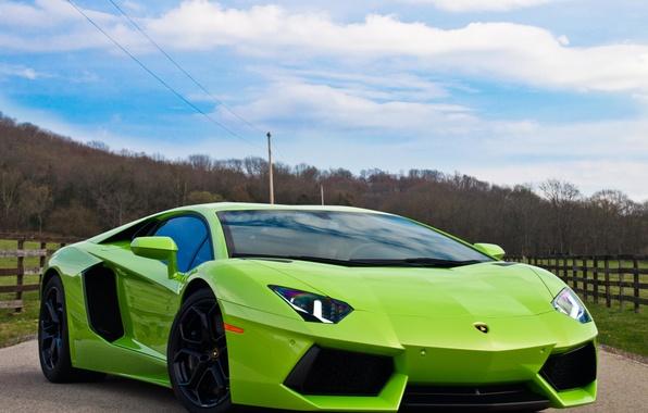 Картинка дорога, авто, небо, green, зелёный, суперкар, LP700-4, Lamborghini Aventador