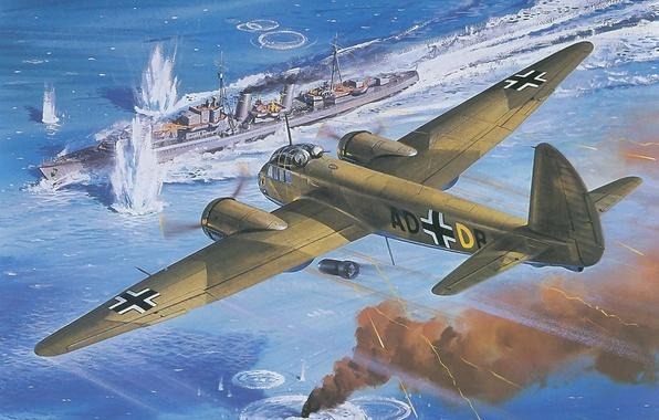 Картинка море, небо, война, дым, рисунок, корабль, взрывы, цель, всплески, арт, бомбардировщик, самолёт, военный, заход, эсминец, …