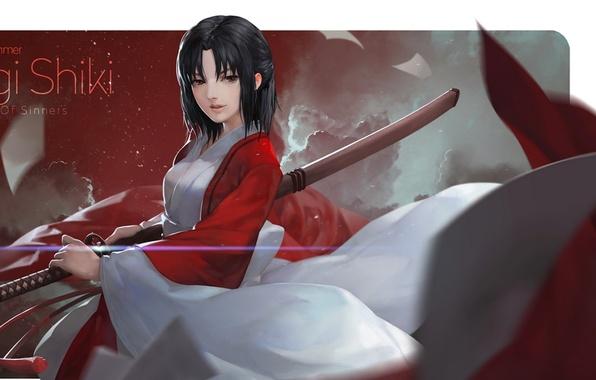 Картинка девушка, меч, катана, листы, Kara no Kyoukai, сад грешников, Ryougi Shiki