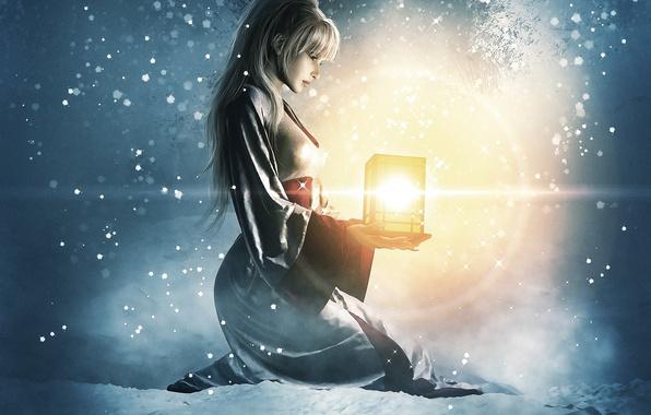 Картинка зима, девушка, свет, снег, арт, фонарь, сидя