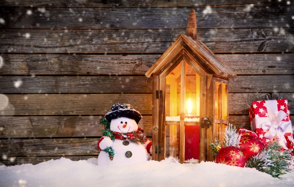 Картинка Свечи, Снег, Новый Год, Шарики, Доски, Шляпа, Праздники, Подарки, Снеговик