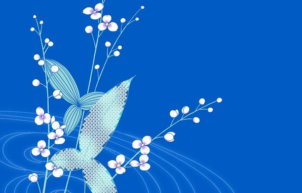 Картинка листья, цветы, растение, минимализм, открытка