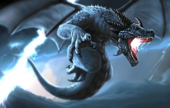 Картинка гроза, шторм, молния, дракон, крылья, хвост, клыки, рога