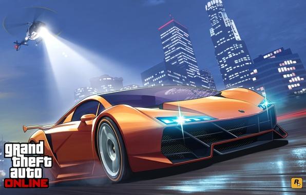 Картинка дорога, машина, полиция, погоня, арт, вертолет, лос анджелес, Grand Theft Auto V, gta online