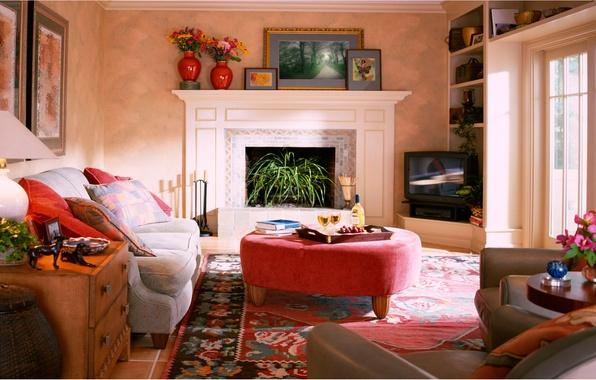 Картинка свет, цветы, комната, мебель, подушки, комод, полки
