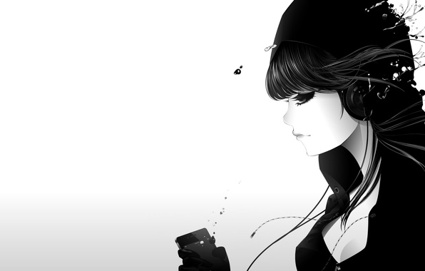 Картинка девушка, капли, музыка, ipod, наушники, арт, белый фон, профиль, qsixtynine