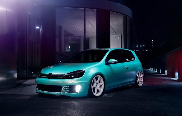 Картинка Volkswagen, Blue, Golf, GTI, Stance, Low, Dapper