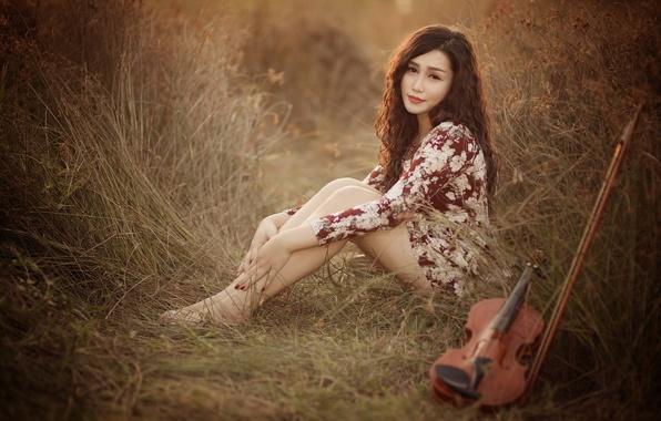 Картинка взгляд, девушка, поза, музыка, скрипка
