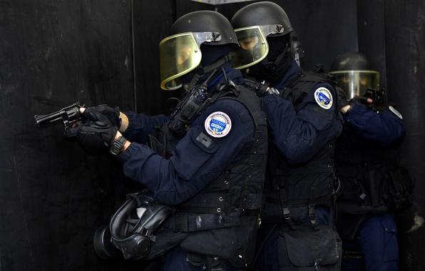 Картинка оружие, противогаз, шлем, штурм, бойцы, Французский, Спецназ, gign