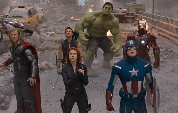 Картинка пистолет, молот, лук, команда, броня, агент, зверь, Скарлетт Йоханссон, Халк, Железный человек, Marvel, Iron man, …