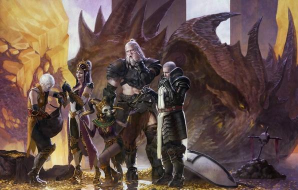 Картинка Diablo 3, art, Witch Doctor, Barbarian, Monk