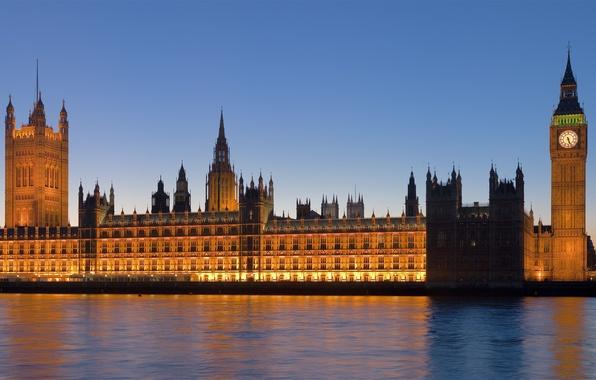 Картинка город, река, часы, вид, англия, панорама, британия, великобритания, england, биг бен, britain, вестминстерское аббатство