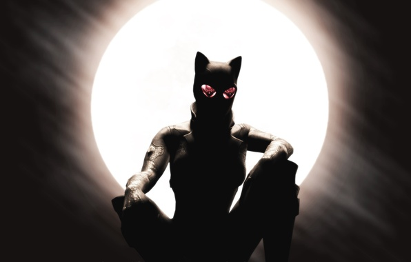 Картинка отражение, арт, очки, catwoman, Selina Kyle, женщина кошка