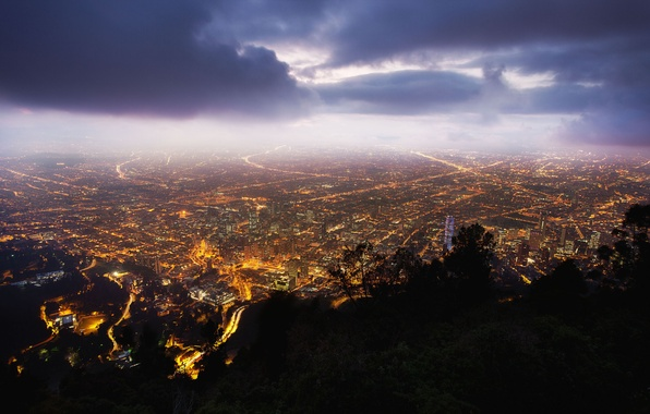Картинка ночь, Night, Bogota, Monserrate, Colombia, Колумбия, Богота