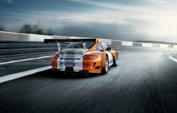 Картинка трасса, гонки, спорткар, порше, Porsche 911