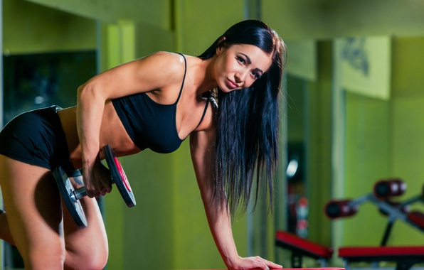 Картинка smile, look, workout, dumbbells, sportswear, triceps