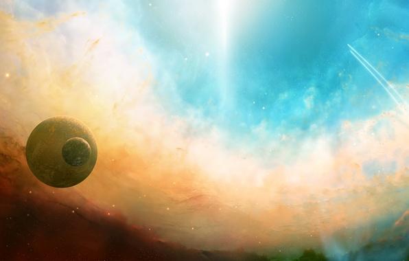 Картинка звезды, свет, полет, туманность, сияние, планеты, траектория, Космос, space, dual monitor