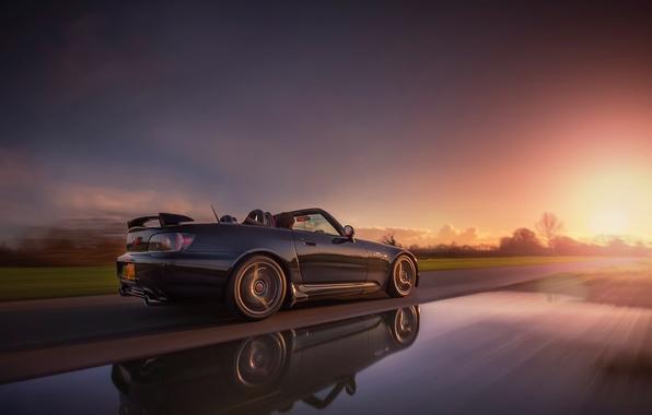 Картинка дорога, car, машина, солнце, закат, отражение, фон, движение, widescreen, обои, скорость, трасса, размытие, wallpaper, Honda, …