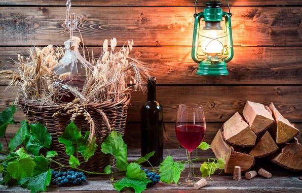 Картинка листья, вино, красное, бутылка, виноград, пробки, лоза, керосиновая лампа