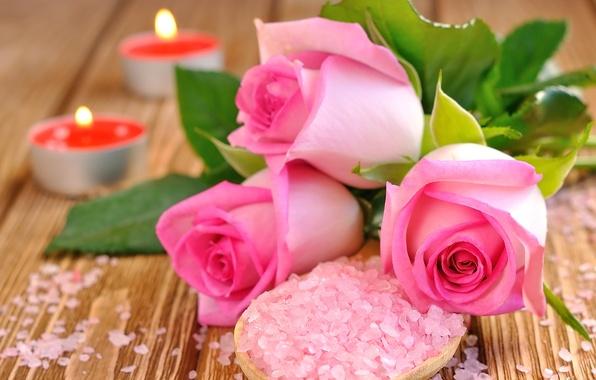 Картинка розы, свечи, лепестки, розовые, бутоны, соль