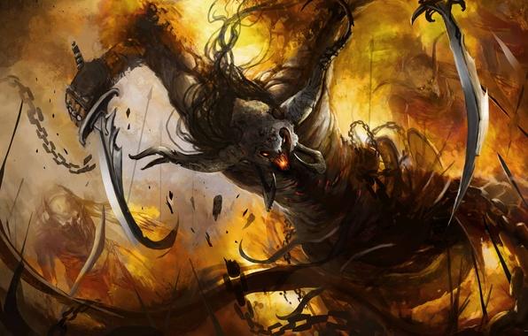 Картинка оружие, огонь, монстр, демон, арт, ярость, цепь, рога, клинки