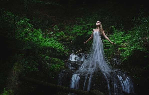 Картинка лес, вода, девушка, ручей