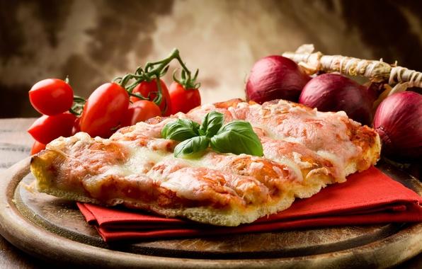 Картинка сыр, лук, овощи, пицца, помидоры, салфетка, блюдо, бекон