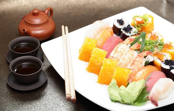 Картинка соус, суши, роллы, японская кухня, имбирь