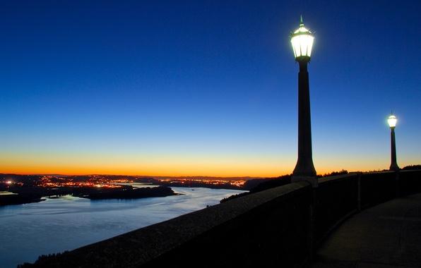 Картинка огни, река, вечер, фонарь, 157