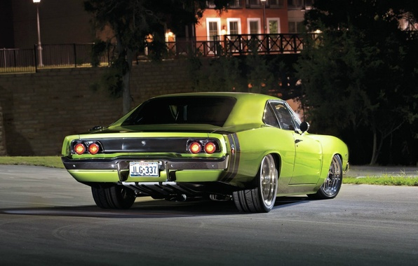 Картинка Додж, Dodge, Green, Charger, Night, 1968
