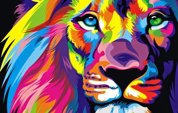 Картинка Взгляд, Цветной, Лев